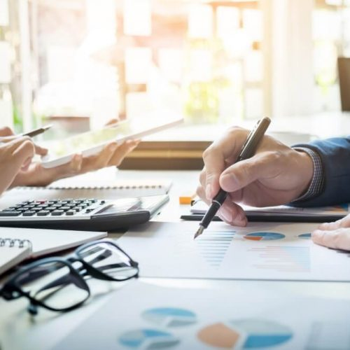Administrator business man financial inspector and secretary making report, calculating balance. Internal Revenue Service checking document. Audit concept; Shutterstock ID 574879378; Job: NL Q3 Comercial; Client/Licensee: Banco Popular; Other: Comercial