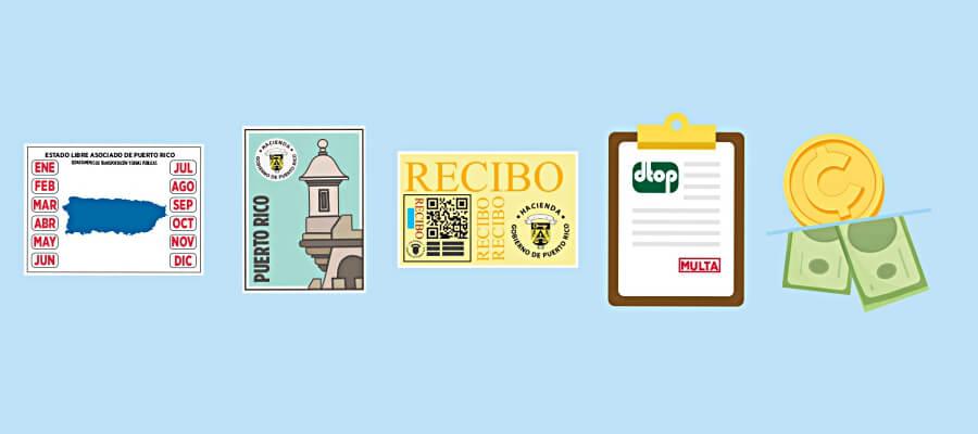 Marbetes, sellos, comprobantes, multas y más