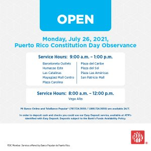 Special Hours: PR Constitution Day Observance