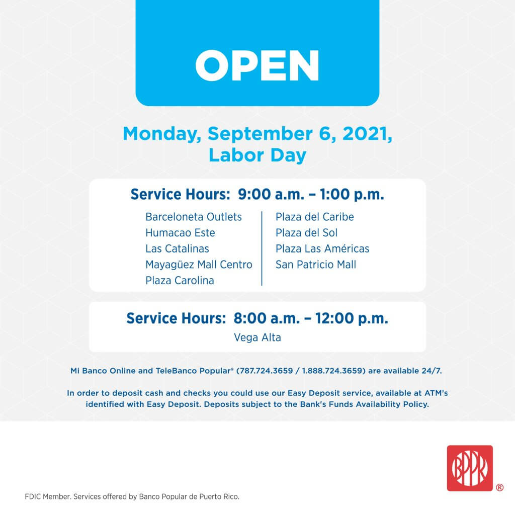Special Hours: Labor Day